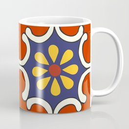 Talavera Mexican Bold Yellow Flora with Red Background Coffee Mug