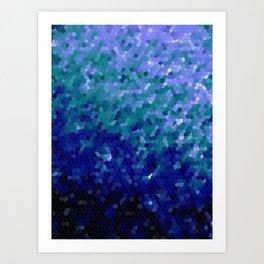 Deep Blue Ocean Mosaic Tile Art Print