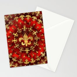 Fleur-de-lis ornament Red Marble and Gold Stationery Cards