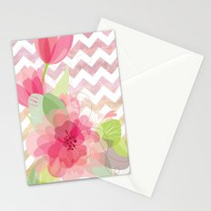 Chevron Flowers Stationery Cards