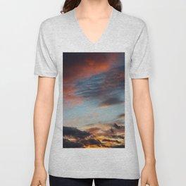 Dreamy Fiery Clouds Unisex V-Neck