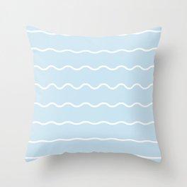 White & blue soft waves Throw Pillow