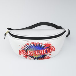 America Red White And Blue Cartoon Exclamation Fanny Pack