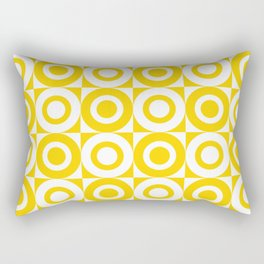 Mid Century Square and Circle Pattern 541 Yellow Rectangular Pillow
