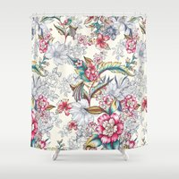 gemma Shower Curtains featuring Bird of Paradise by Gemma Hodgson Design