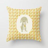 rabbit Throw Pillows featuring Rabbit by Jane Mathieu