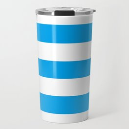 Microsoft blue - solid color - white stripes pattern Travel Mug