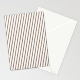 Mattress Ticking Narrow Striped Pattern in Chocolate Brown and White Stationery Cards