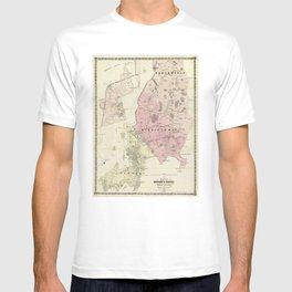 Vintage Newport RI Environs Map (1870) T-shirt