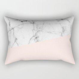 Real White marble Half Salmon Pink Rectangular Pillow