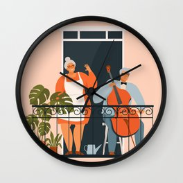 People on balconies. Stay home.  Wall Clock