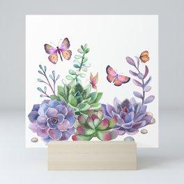 A Splendid Secret Succulent Garden With Butterfly Visitors Mini Art Print
