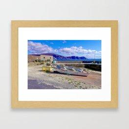 Moored boat at Purteen Harbour Framed Art Print