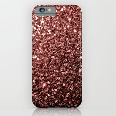 Beautiful Glam Marsala Brown-Red Glitter sparkles Slim Case iPhone 6s