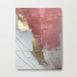 Darling: a minimal, abstract mixed-media piece in pink, white, and gold by Alyssa Hamilton Art Metal Print