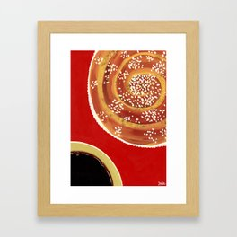 Coffee & cinnamon bun Framed Art Print