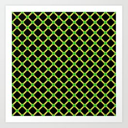 Yellow and Green Cross Hatch Art Print