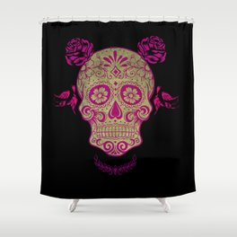 Sugar Skull Green and Pink Shower Curtain