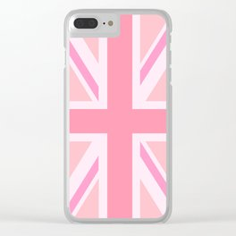 Pink Union Jack/Flag Design Clear iPhone Case