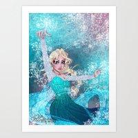 frozen elsa Art Prints featuring Frozen Elsa by Teo Hoble
