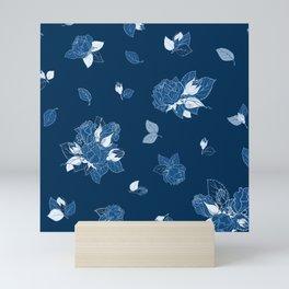 Classic Blue Roses at Midnight Mini Art Print