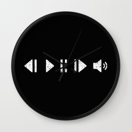 White Music Controls Wall Clock