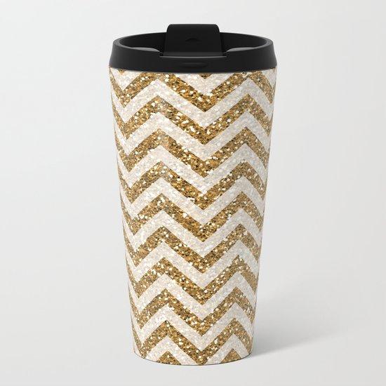 Sparkling gold glitter chevron pattern Metal Travel Mug