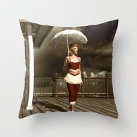 scandal Throw Pillows featuring The victorian scandal by Britta Glodde