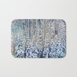 Snow Covered Trees Bath Mat