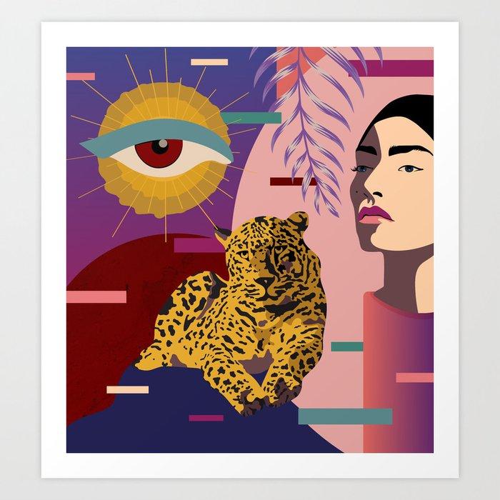 The Big Eye Leopard abstract Art Print