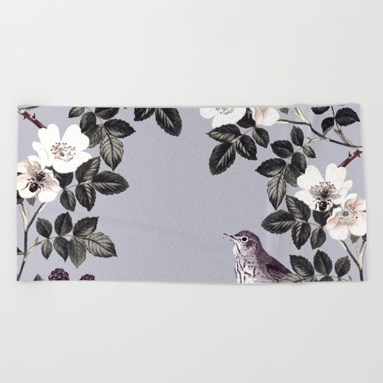 Birds and the Bees Blue Gray Beach Towel