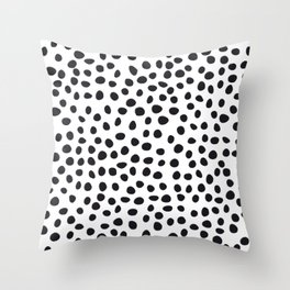 Hand Drawn Polka Dots, Spots Black &  White Throw Pillow