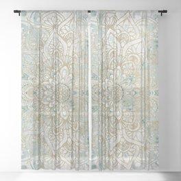 Yoga, Mandala, Teal and Gold, Wall Art Boho Sheer Curtain