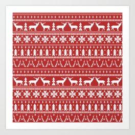 Deer christmas fair isle camping pattern snowflakes minimal winter seasonal holiday gifts Art Print