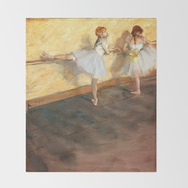 Edgar Degas - Dancers Practicing at the Barre (new color editing) Throw Blanket