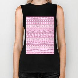 Aztec Influence Pattern Pink on White Biker Tank