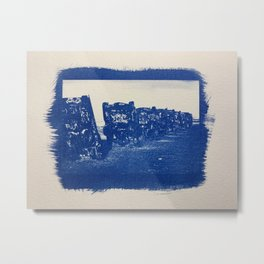 Cyanotype of  Old Car Cemetery in Arizona Metal Print