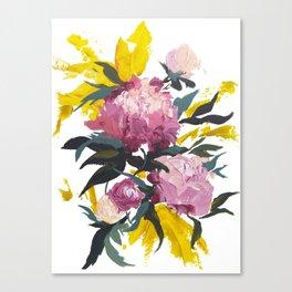 pivoine violette avec jaune Canvas Print
