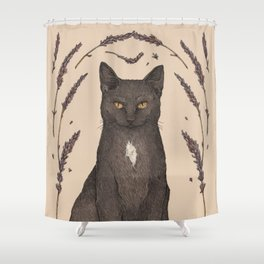 The Cat and Lavender Shower Curtain