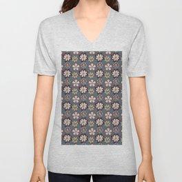 vintage pink teal gray boho floral pattern Unisex V-Neck