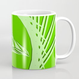 Bright abstract olive bird on a green background in the nest. Coffee Mug