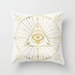 All-Seeing Eye Mandala – Gold Palette Throw Pillow