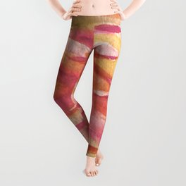 Fire: a colorful abstract watercolor piece in pinks, reds, orange, and yellow Leggings