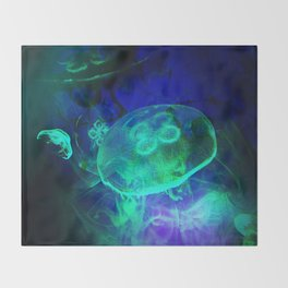 Green Glowing Luminescence of the UFO Jellyfish Throw Blanket