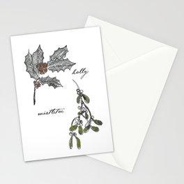 A Botanical mistletoe and holly Christmas Stationery Cards
