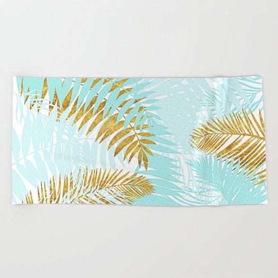 Aloha- Tropical Palm Leaves and Gold Metal Foil Leaf Garden Beach Towel