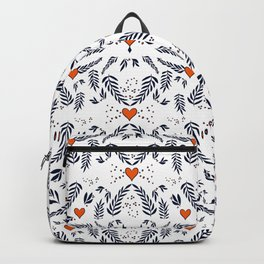 Red hearts and blue leaves pattern Backpack