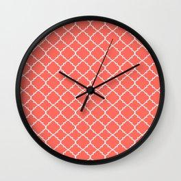 Coral Moroccan Quatrefoil Wall Clock
