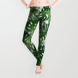 Exotic Palm Leaf Pattern Leggings