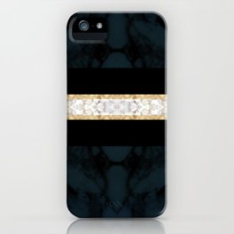 Midnight Blue Marble with Gold Glitter Ribbon iPhone Case